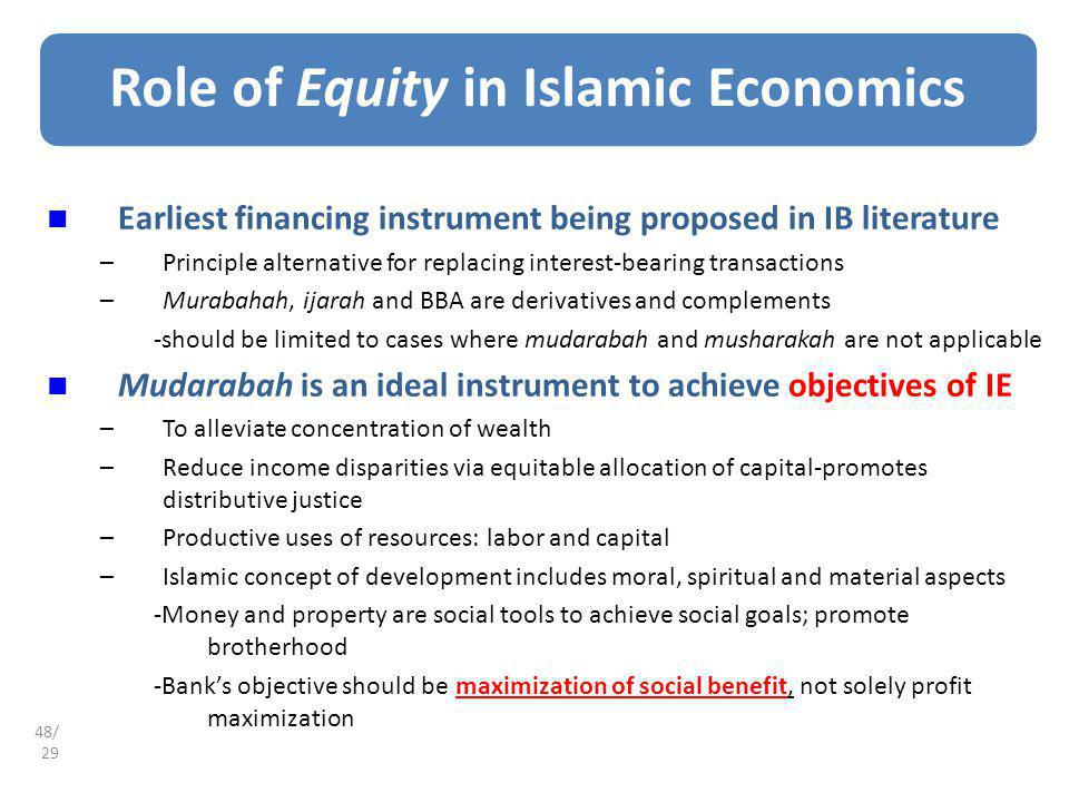 Role of Equity in Islamic Economics