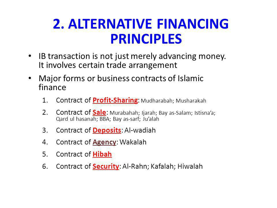 2. ALTERNATIVE FINANCING PRINCIPLES