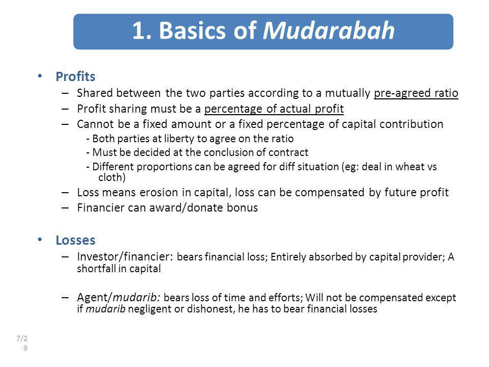 1. Basics of Mudarabah Profits Losses