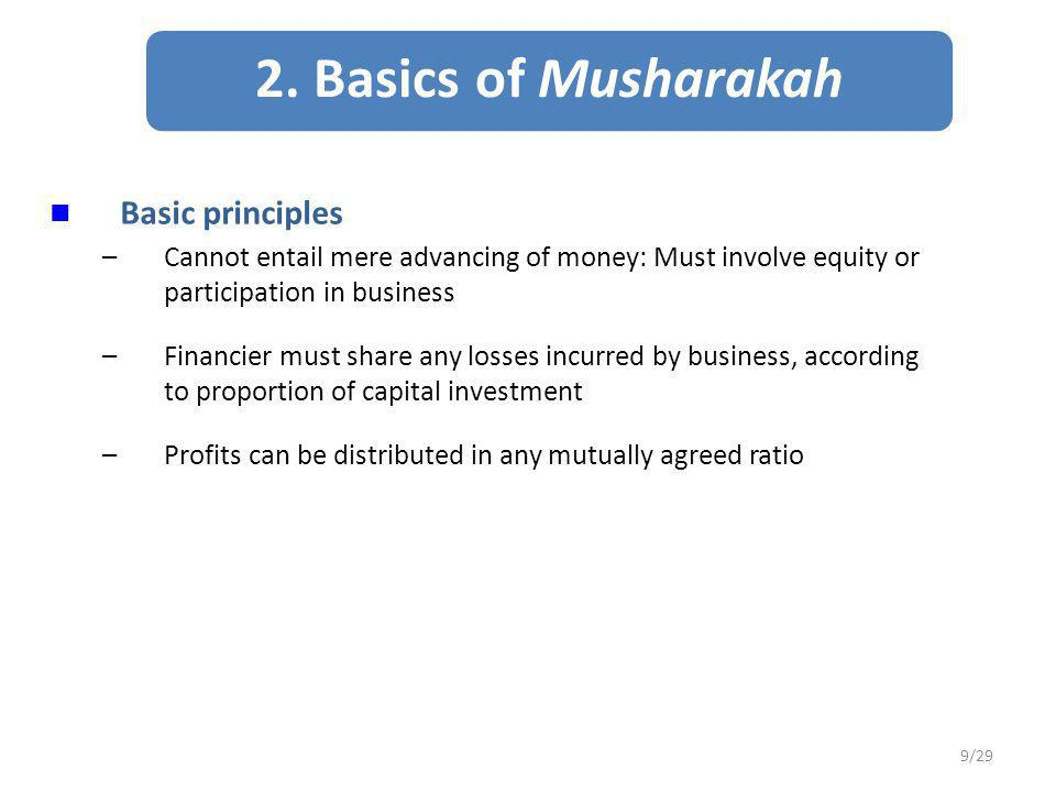 2. Basics of Musharakah Basic principles