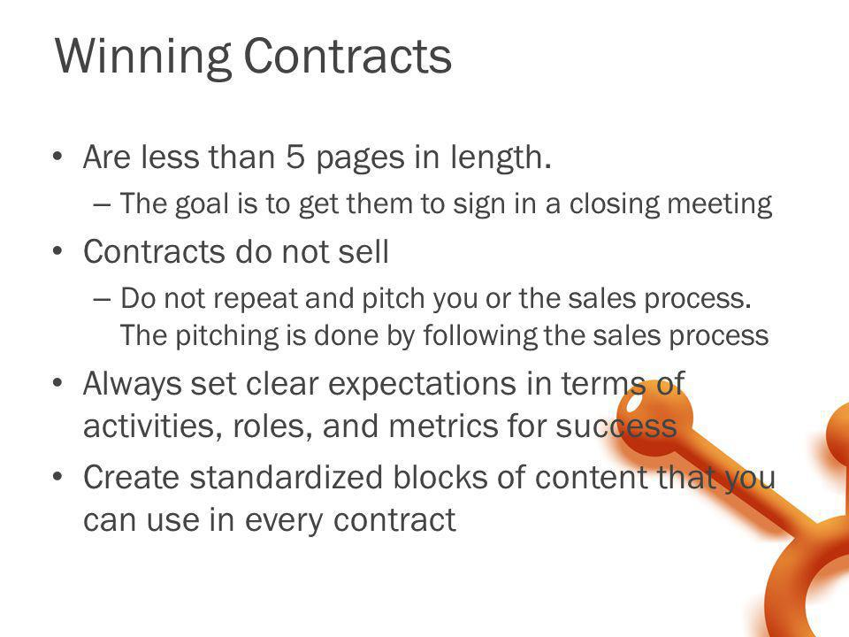 Winning Contracts Are less than 5 pages in length.
