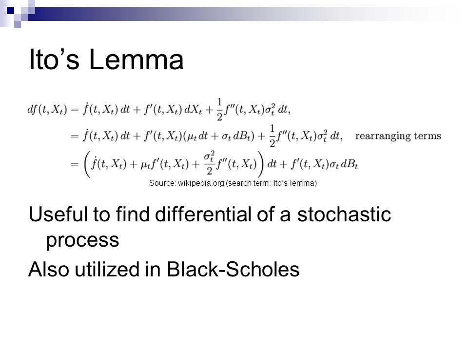 Ito's Lemma Useful to find differential of a stochastic process