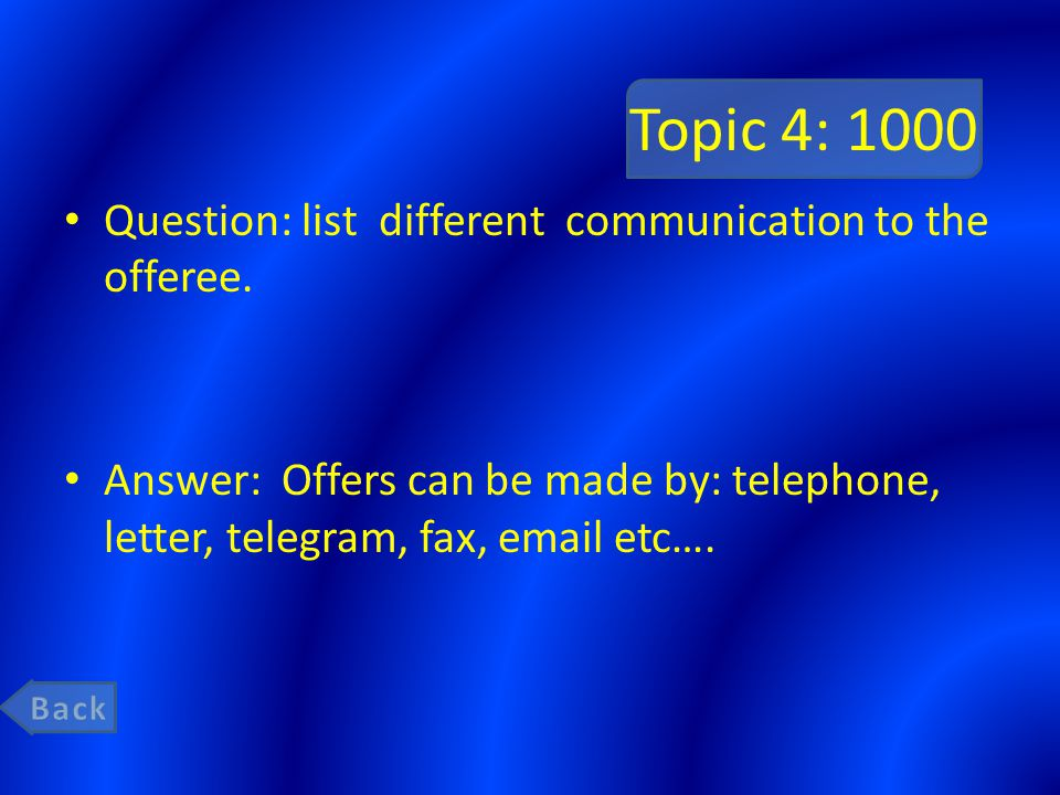 Topic 4: 1000 Question: list different communication to the offeree.