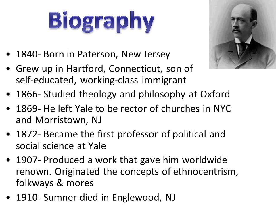 Biography 1840- Born in Paterson, New Jersey