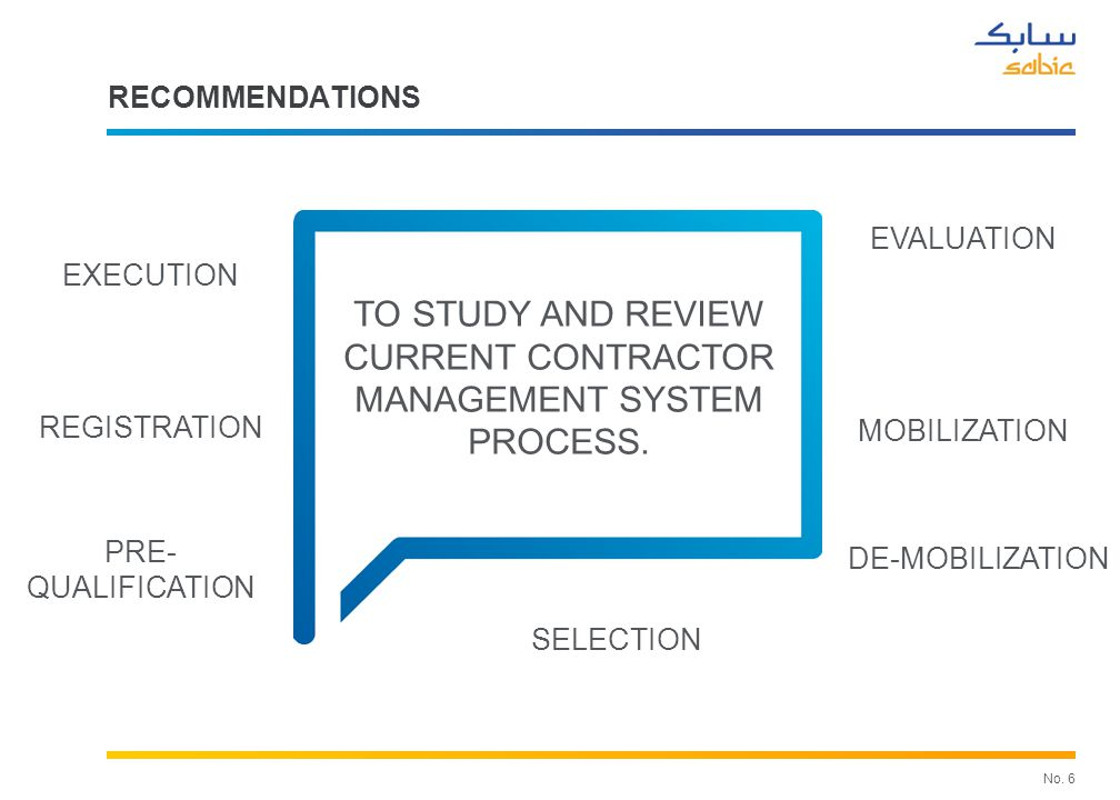 RECOMMENDATIONS SABIC KSA. TO STUDY AND REVIEW BEST PRACTICES AVAILABLE GLOBALLY IN MANAGING CONTRACTOR SAFETY.