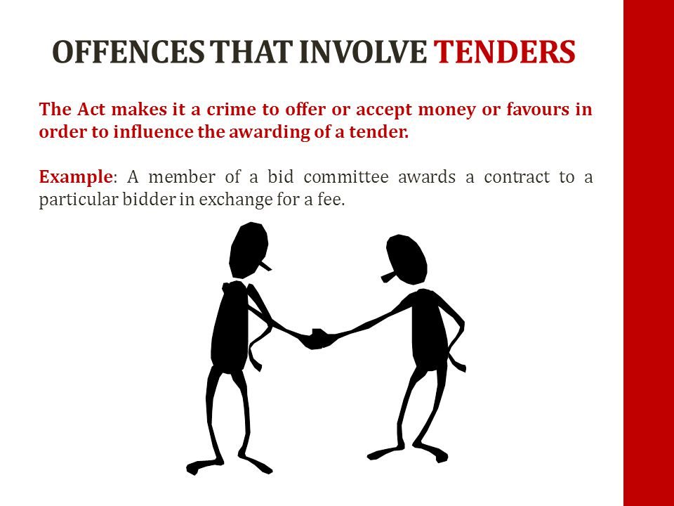 OFFENCES THAT INVOLVE TENDERS