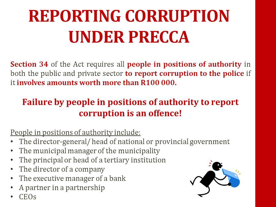 REPORTING CORRUPTION UNDER PRECCA