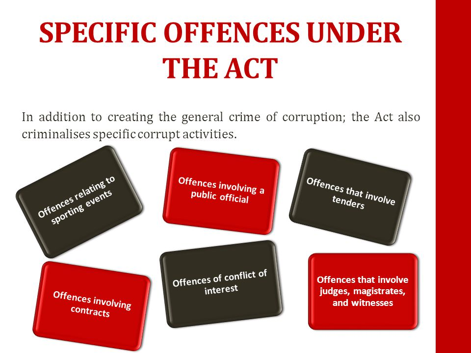 SPECIFIC OFFENCES UNDER THE ACT