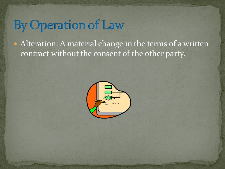 By Operation of Law Alteration: A material change in the terms of a written contract without the consent of the other party.