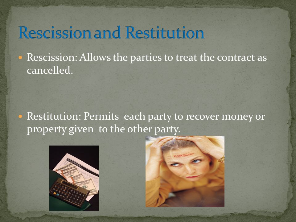 Rescission and Restitution