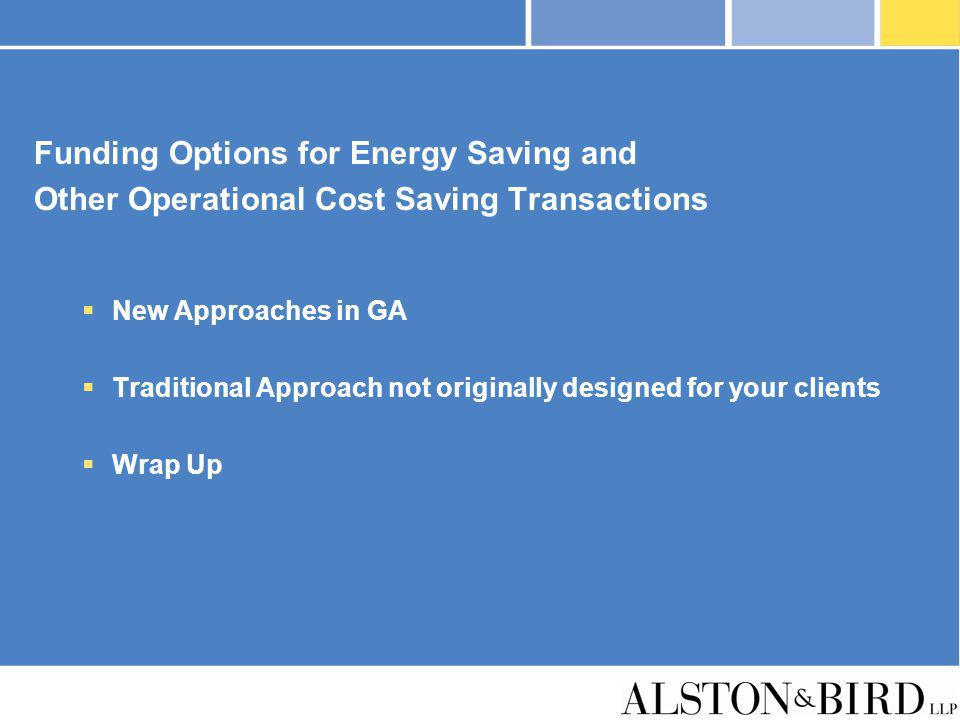 Funding Options for Energy Saving and
