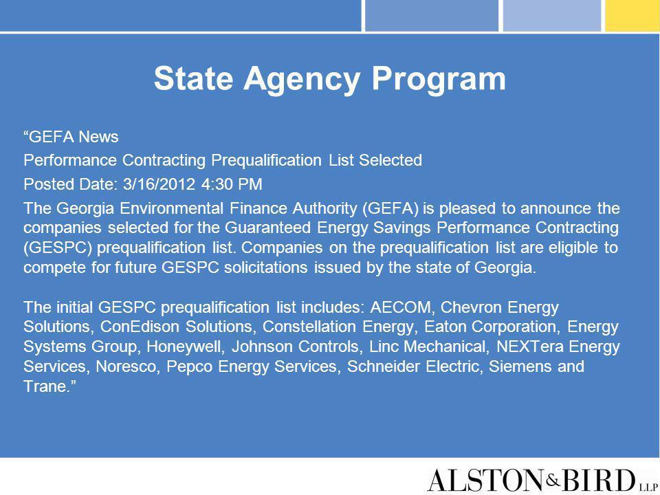 State Agency Program GEFA News