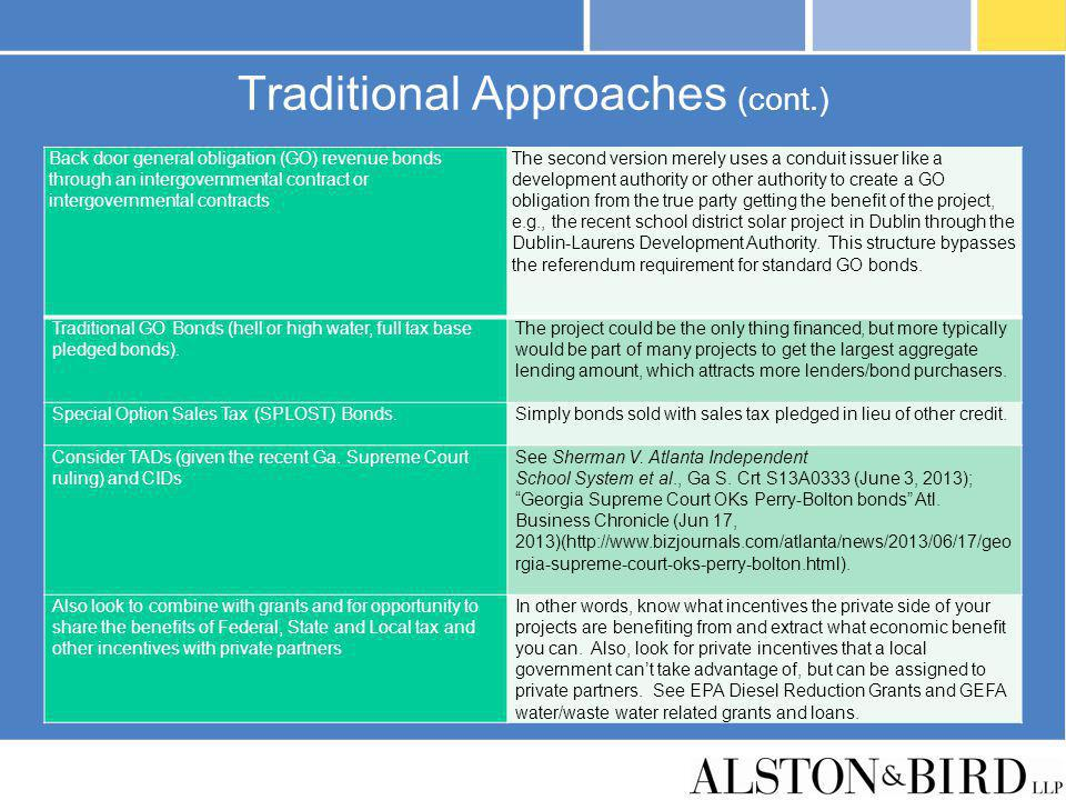 Traditional Approaches (cont.)