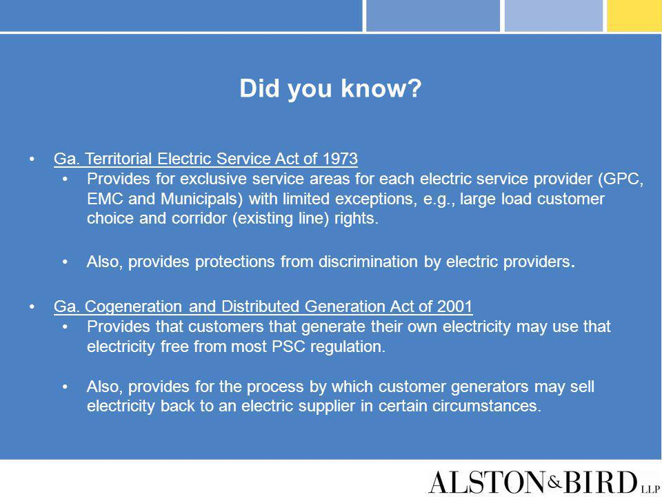 Did you know Ga. Territorial Electric Service Act of 1973