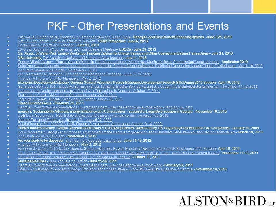 PKF - Other Presentations and Events