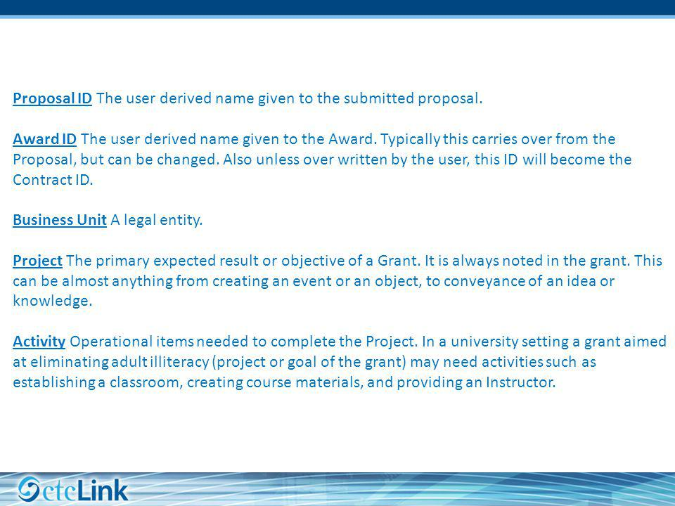 Proposal ID The user derived name given to the submitted proposal.