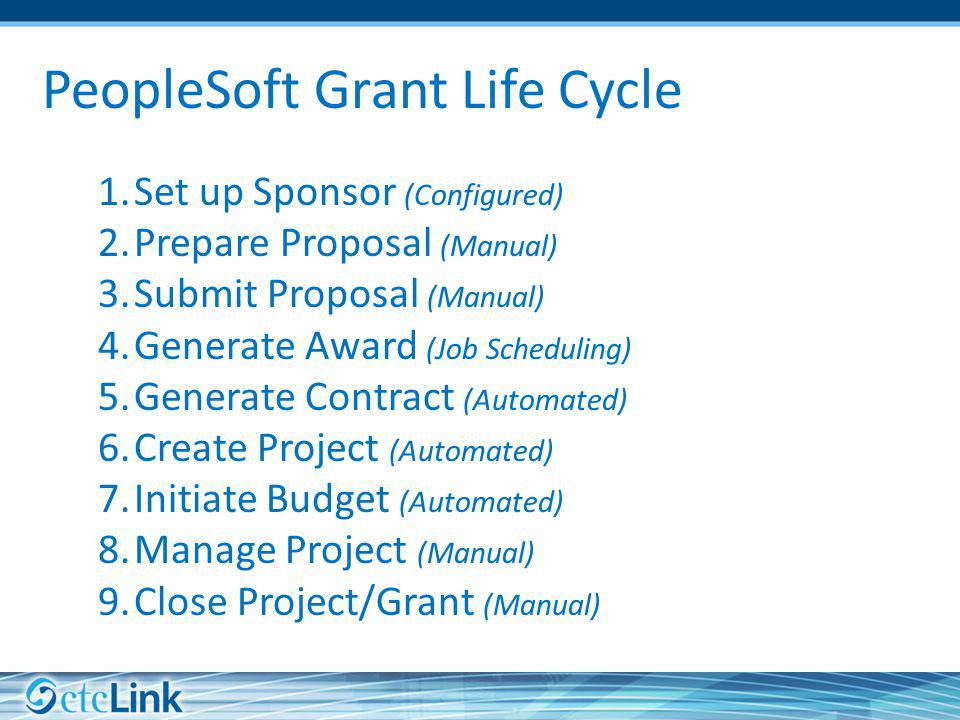 PeopleSoft Grant Life Cycle