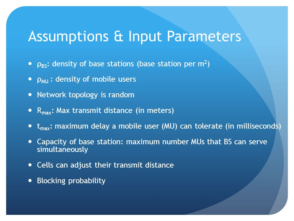 Assumptions & Input Parameters