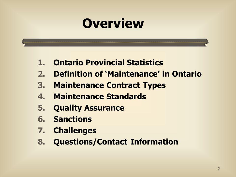 Overview Ontario Provincial Statistics