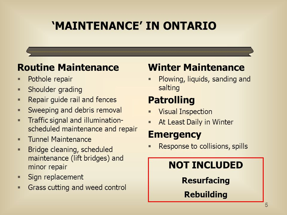 'MAINTENANCE' IN ONTARIO