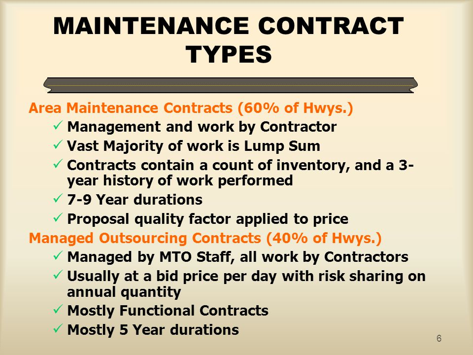 MAINTENANCE CONTRACT TYPES