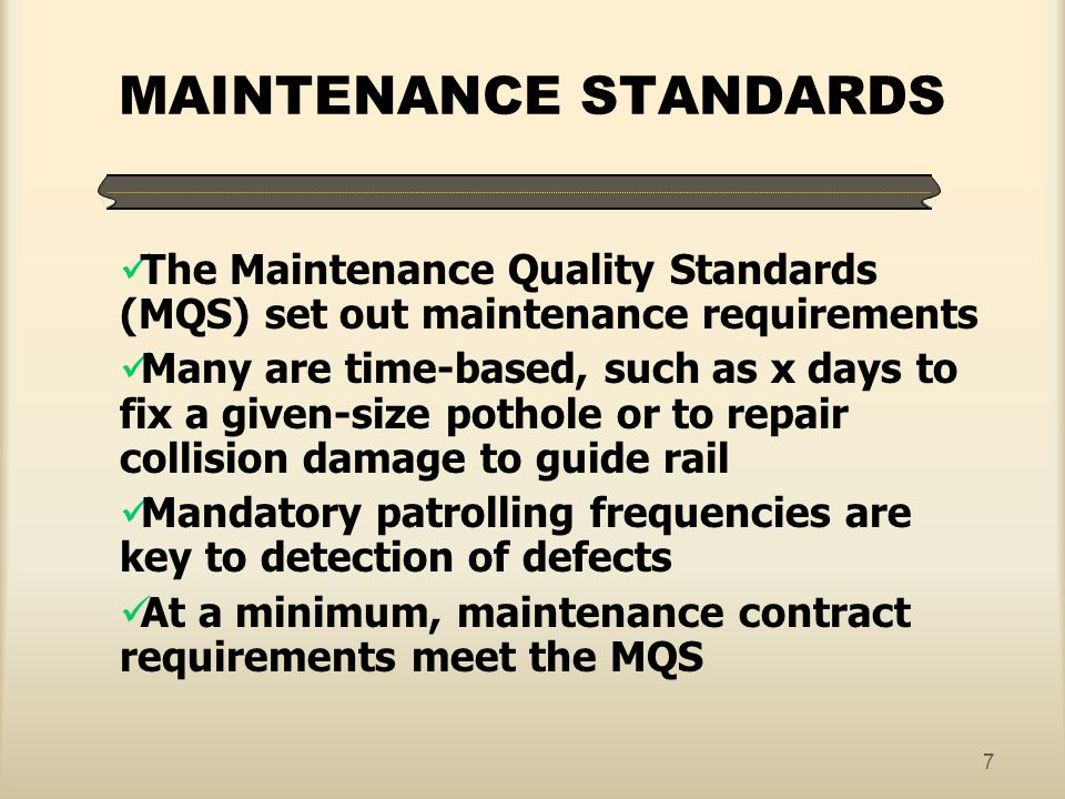 MAINTENANCE STANDARDS