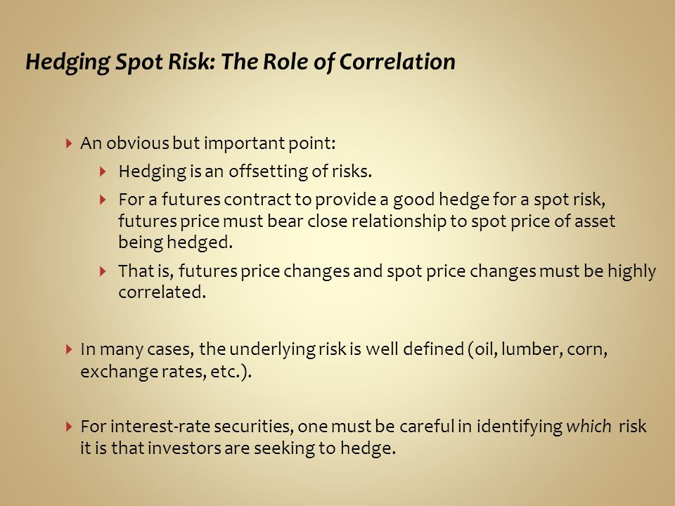 Hedging Spot Risk: The Role of Correlation