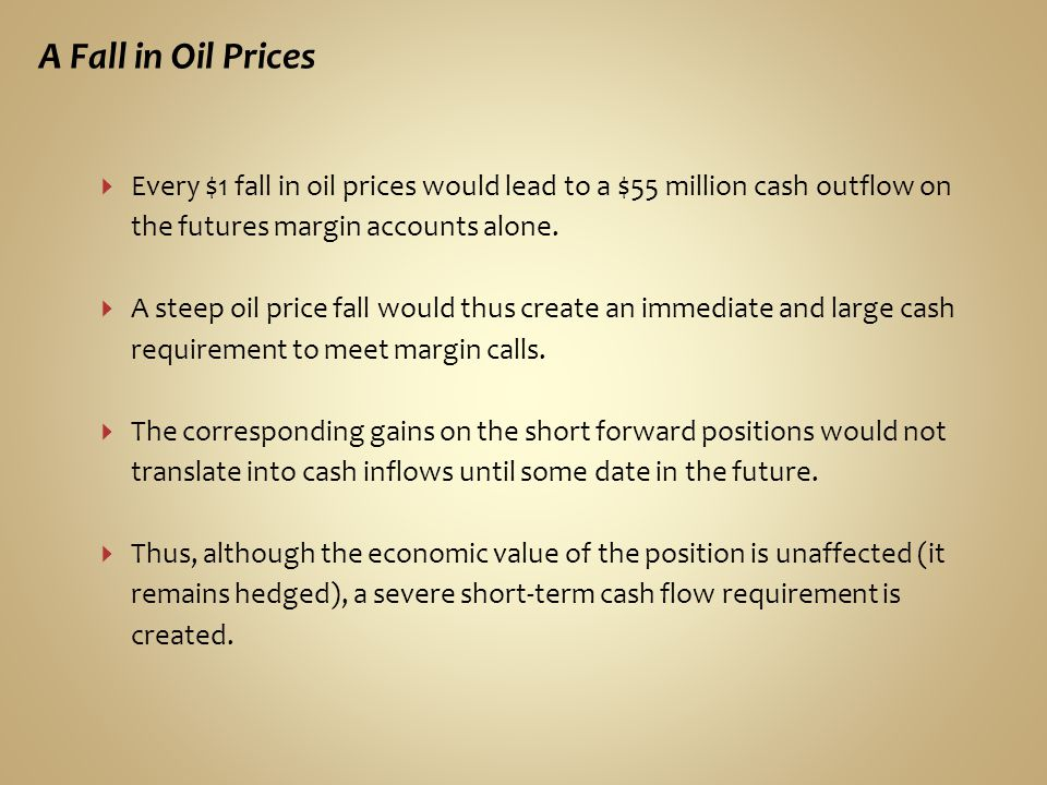 A Fall in Oil Prices Every $1 fall in oil prices would lead to a $55 million cash outflow on the futures margin accounts alone.