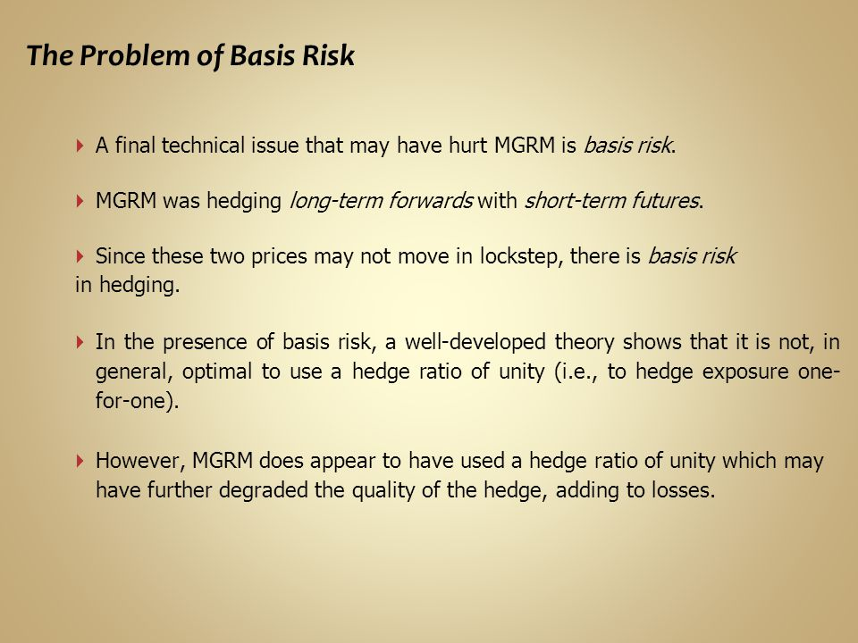 The Problem of Basis Risk