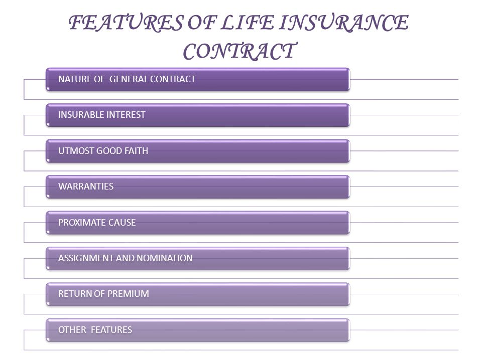 FEATURES OF LIFE INSURANCE CONTRACT