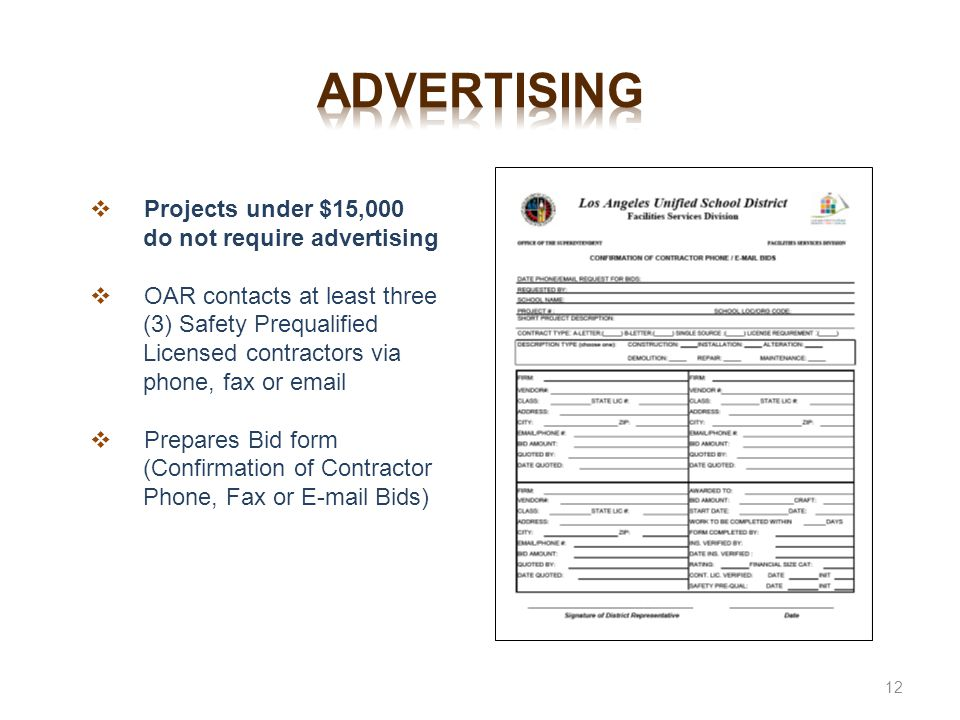 advertising Projects under $15,000 do not require advertising