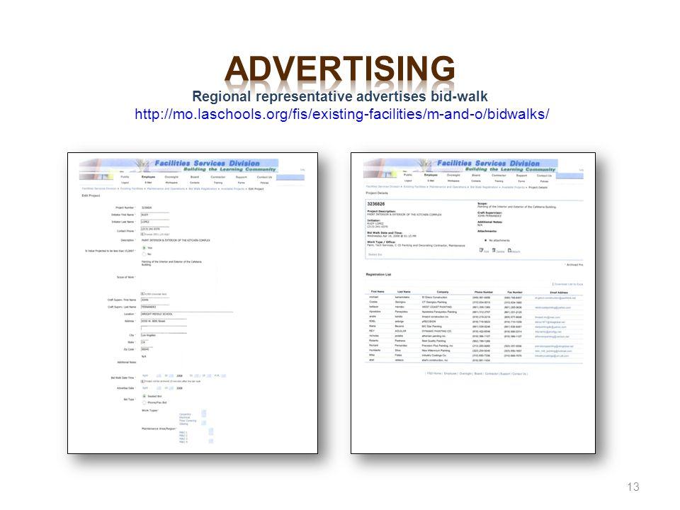 advertising Regional representative advertises bid-walk http://mo
