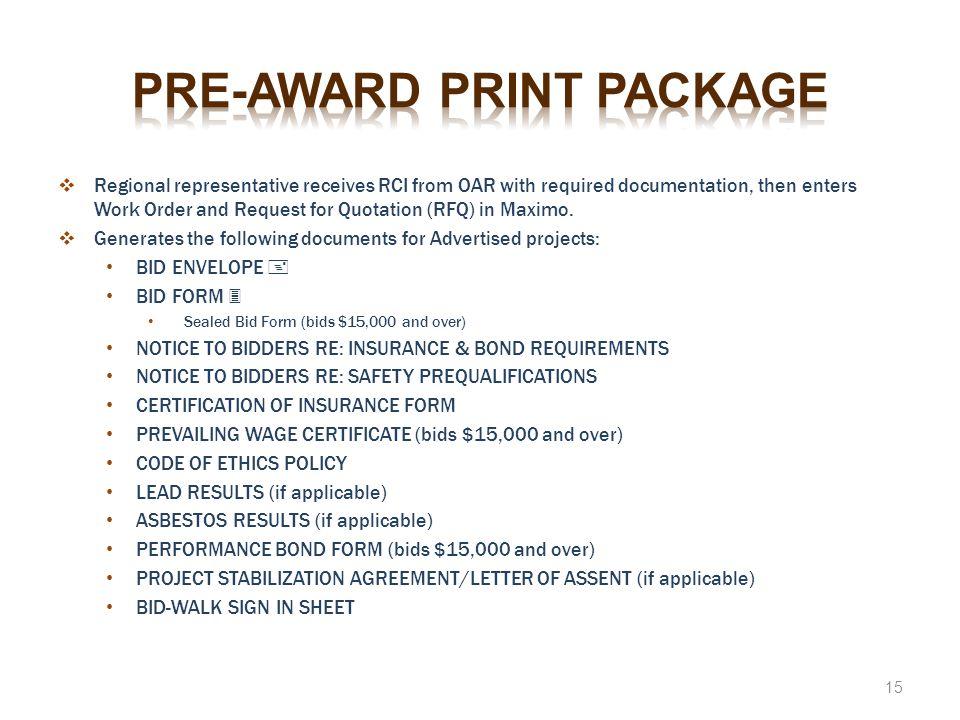 Pre-award print package