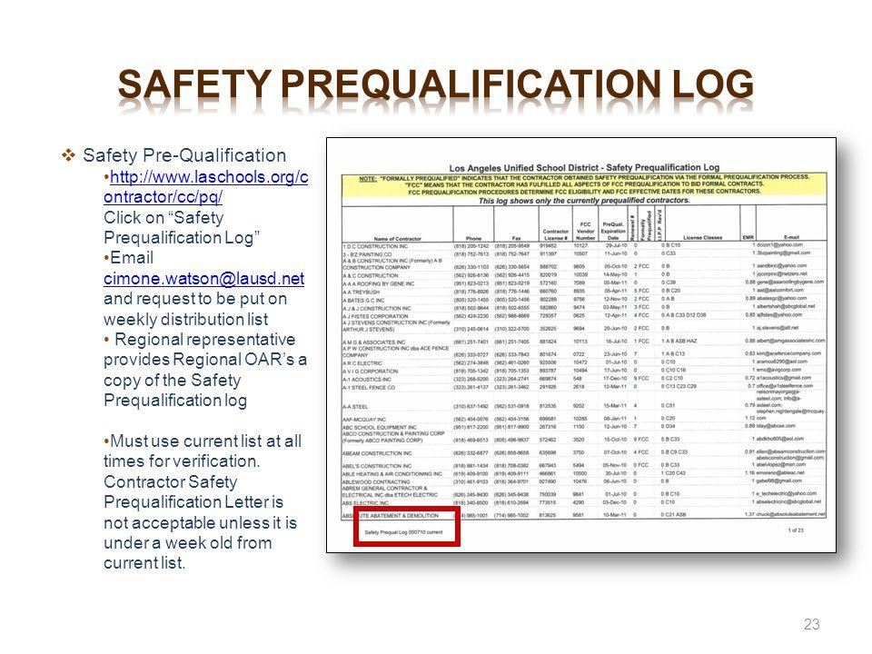 Safety prequalification log