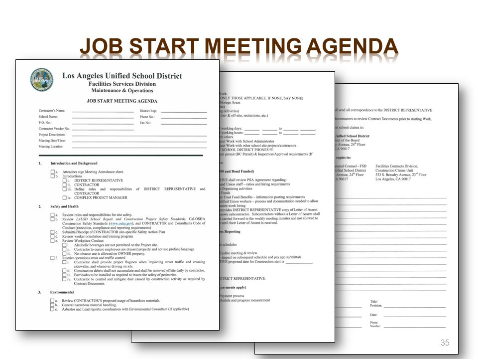 Job start meeting agenda