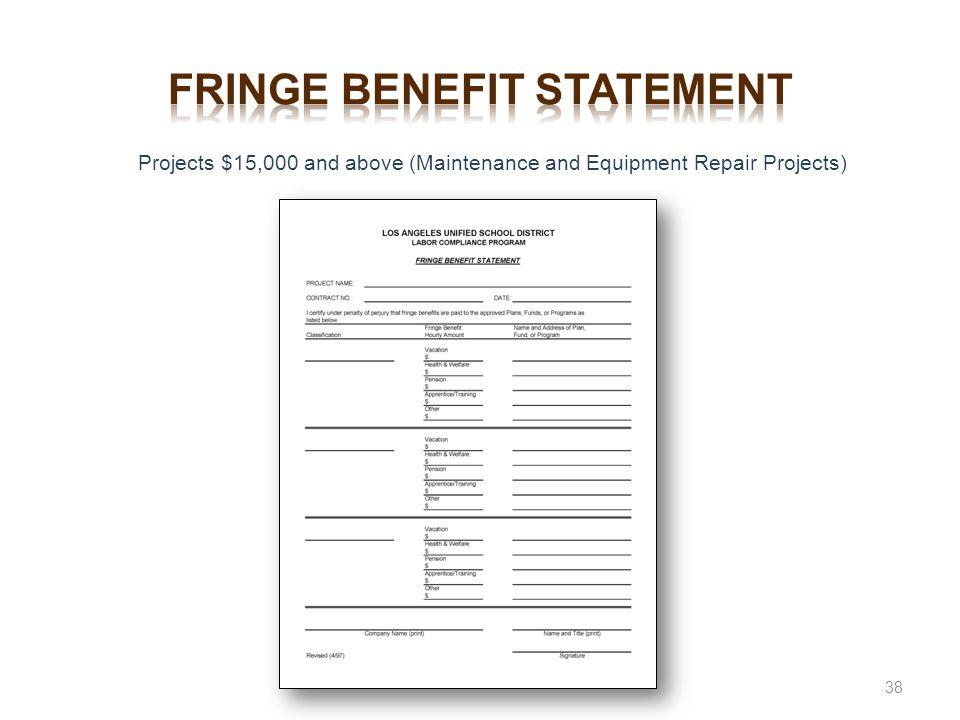Fringe benefit statement