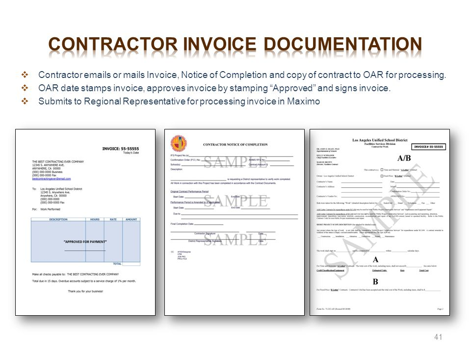 Contractor invoice documentation