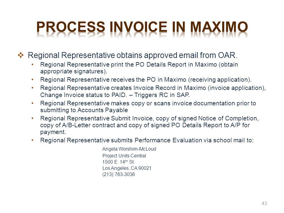Process invoice in maximo