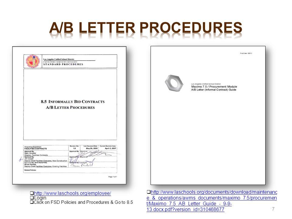 a/b letter procedures