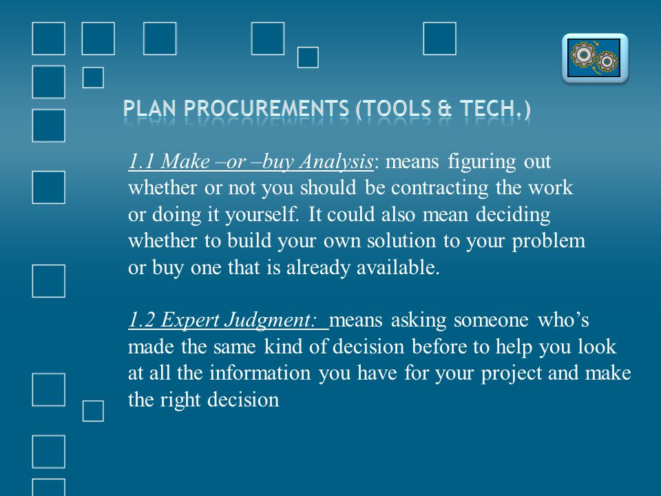 Plan Procurements (Tools & Tech.)