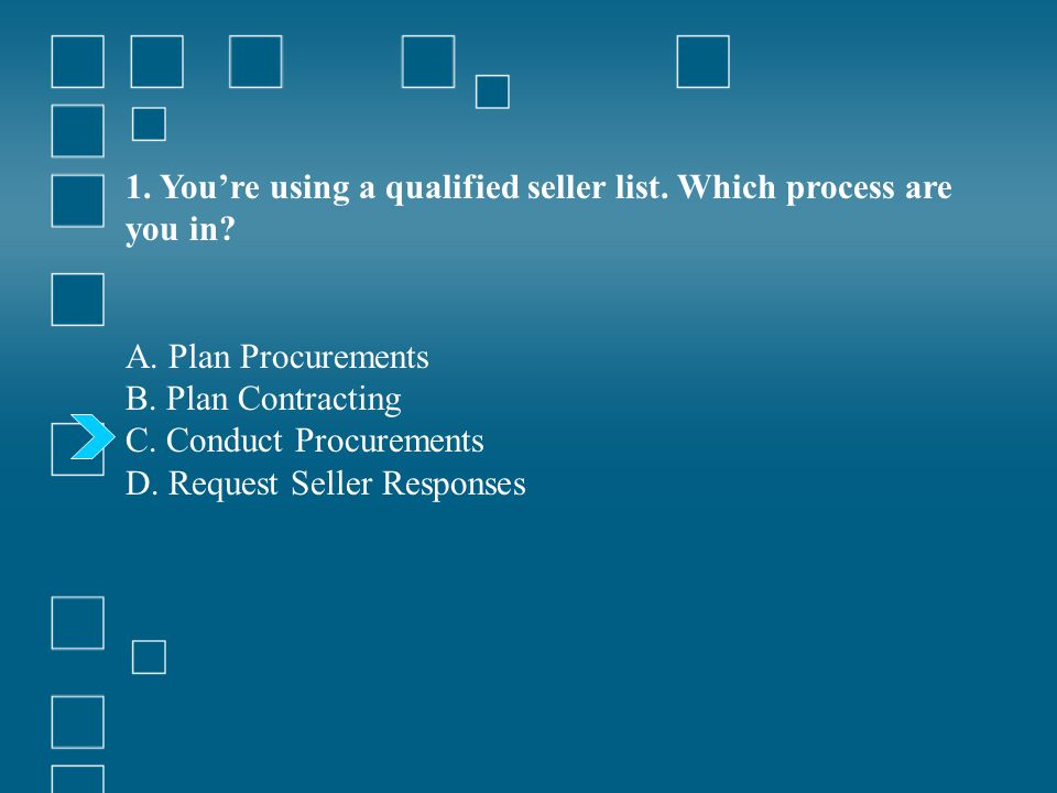 1. You're using a qualified seller list. Which process are you in