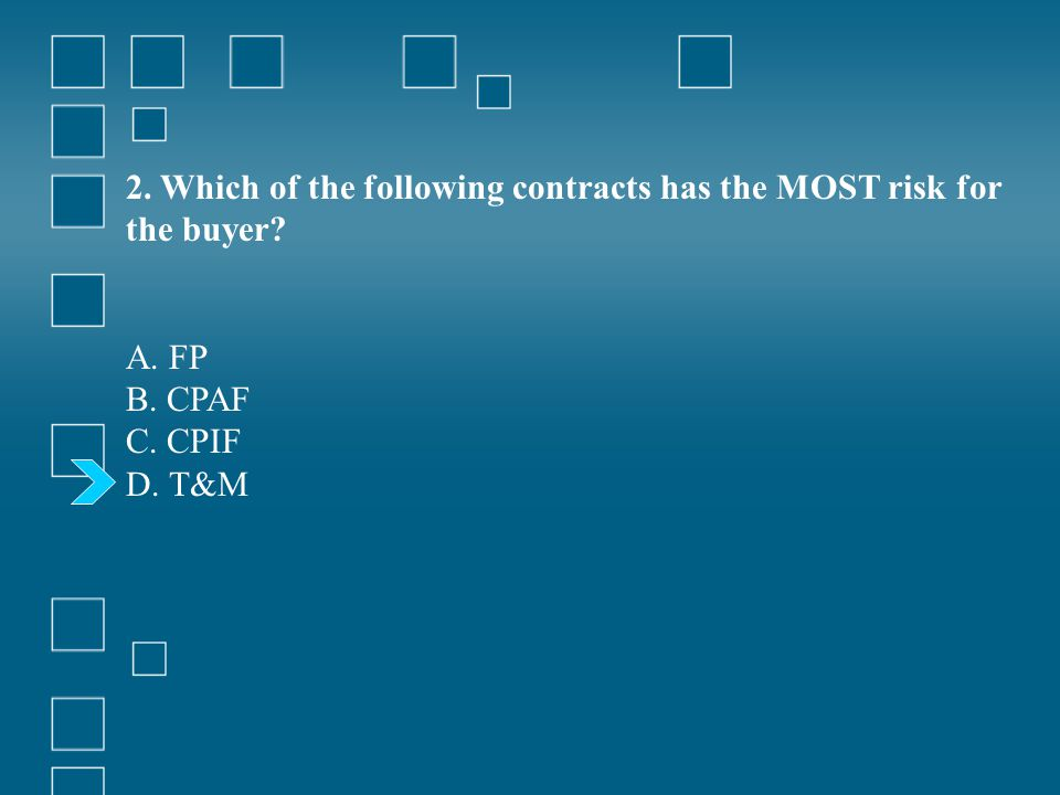 2. Which of the following contracts has the MOST risk for the buyer