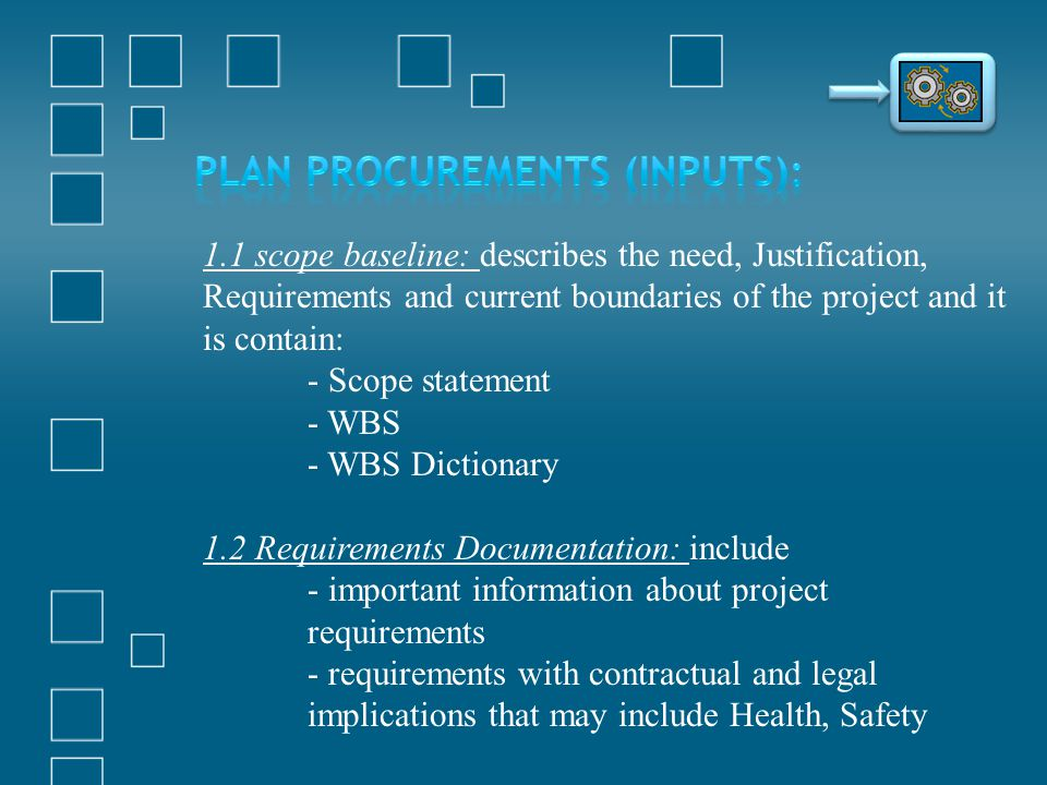Plan Procurements (Inputs):