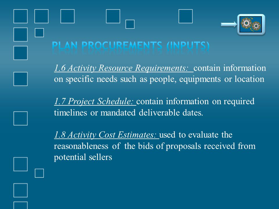 Plan Procurements (Inputs)