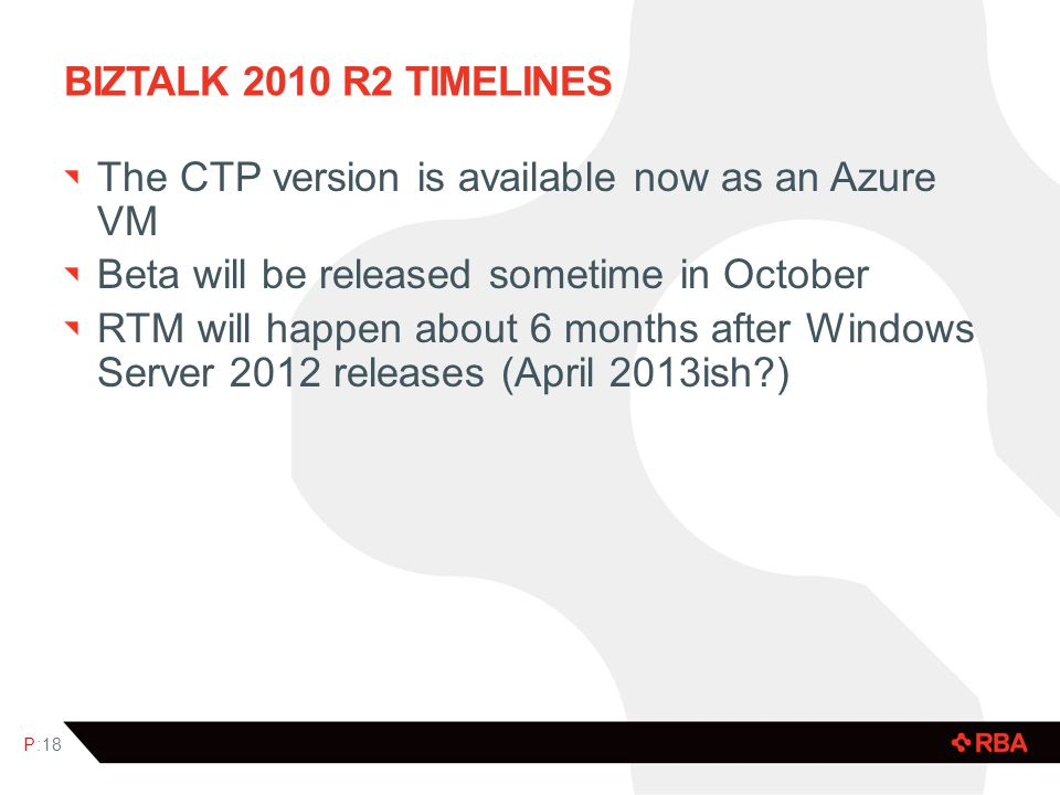 Biztalk 2010 R2 timelines The CTP version is available now as an Azure VM. Beta will be released sometime in October.