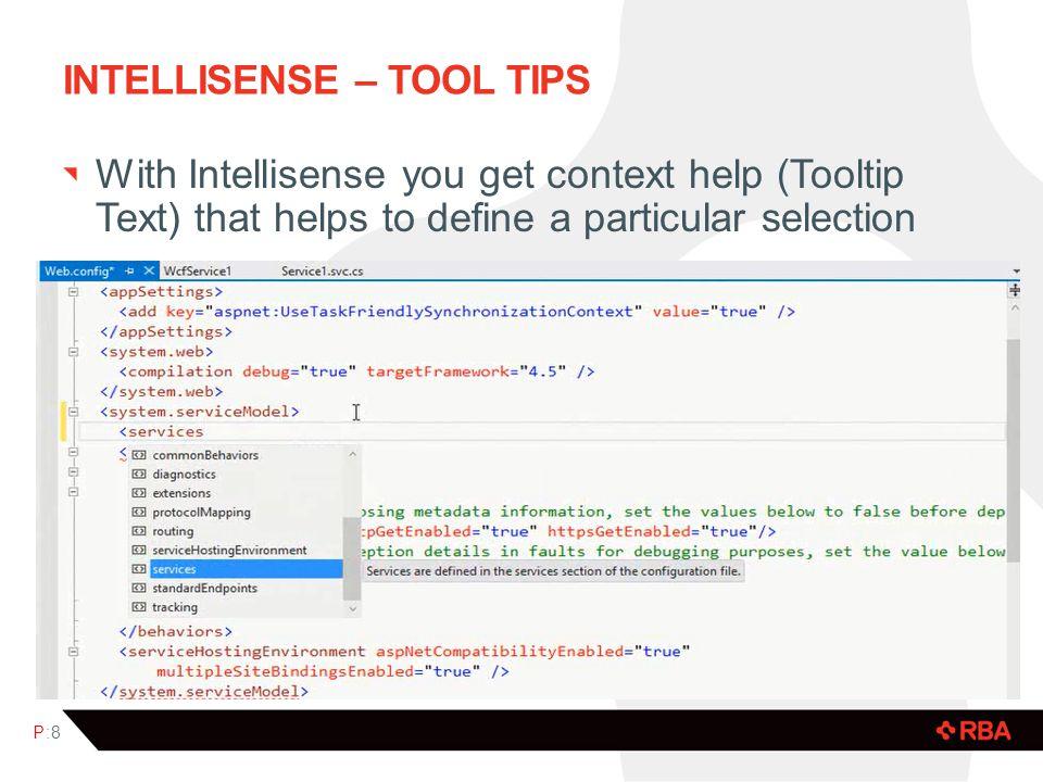 Intellisense – tool tips