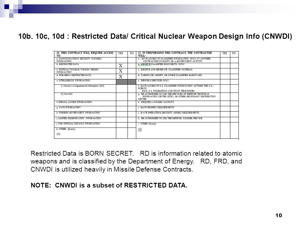 10b. 10c, 10d : Restricted Data/ Critical Nuclear Weapon Design Info (CNWDI)
