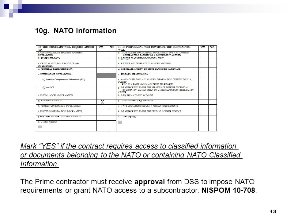 10g. NATO Information Mark YES if the contract requires access to classified information.