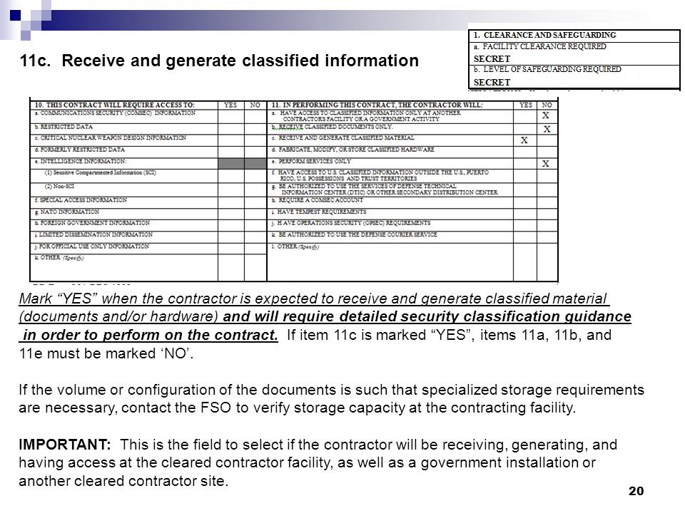 11c. Receive and generate classified information
