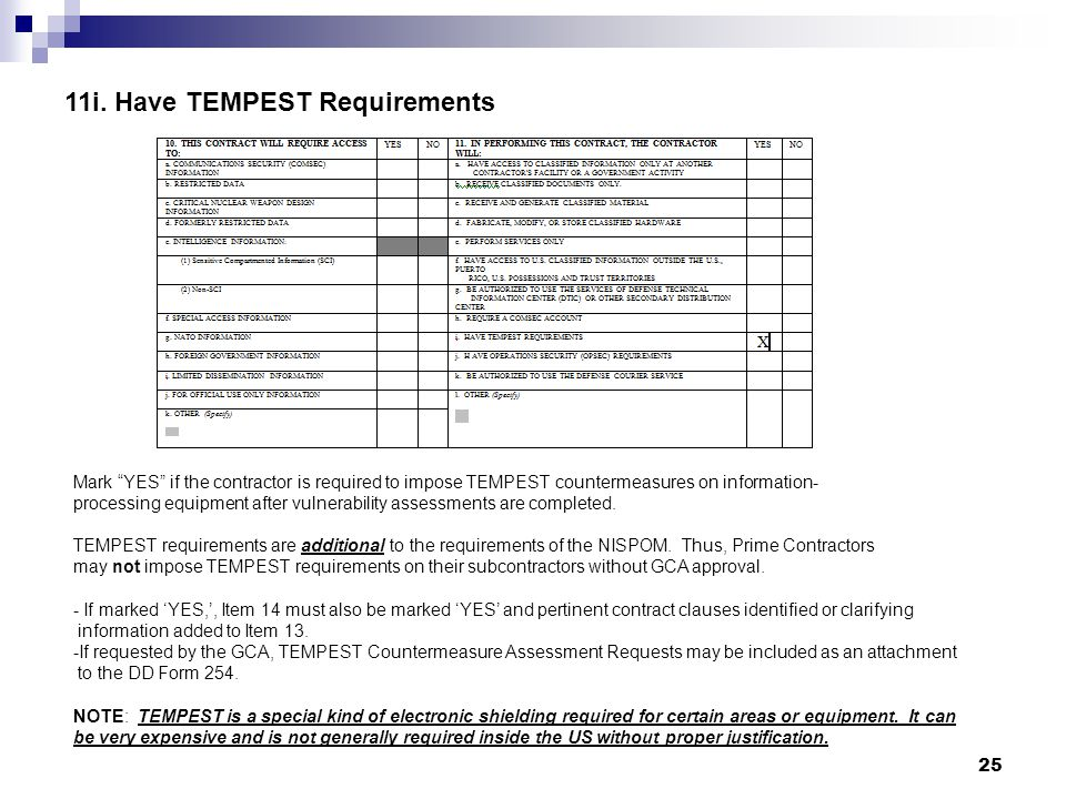 11i. Have TEMPEST Requirements